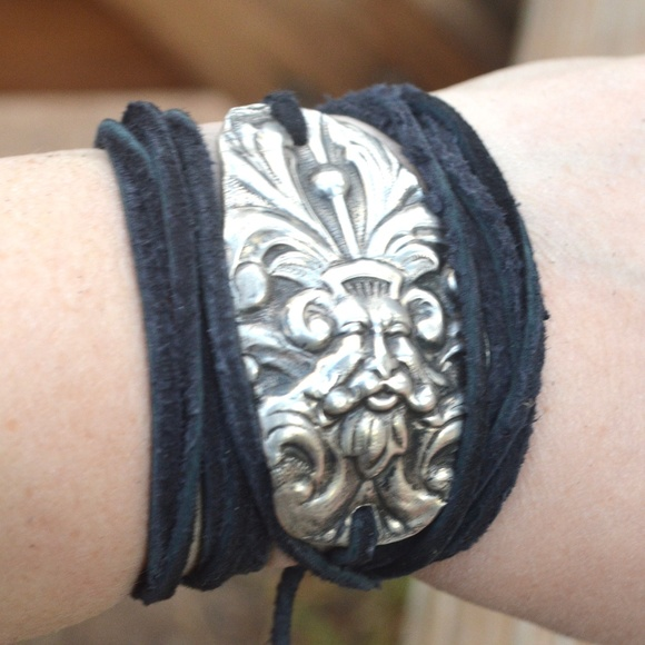 70e0091b842df Antique Sterling Silver Thor Leather Wrap Cuff Boutique